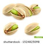 pistachio nuts. 3d realistic... | Shutterstock .eps vector #1524825098