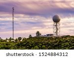 Sunset view of weather station (the Bay Area NEXRAD weather radar) close to the top of Mt Umunhum, San Jose, Santa Cruz mountains, south San Francisco bay area, California