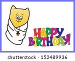 happy birthday card with a cat | Shutterstock .eps vector #152489936