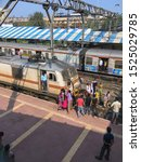 Small photo of 08 oct 2019 passengers garlanding electric loco engin on occasion of Dussehra kalyan maharashtra India