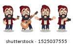 bearded hipster with glasses ... | Shutterstock .eps vector #1525037555