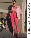 Small photo of MILAN, Italy: 20 September 2019: Cecilia Rodriguez street style outfit after Iceberg fashion show during Milan fashion week spring/summer 2019/2020