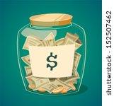 Saving Money Jar. Vector...