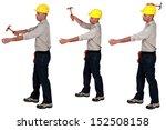 tradesman using a hammer | Shutterstock . vector #152508158
