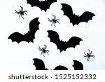 halloween black bats with black ... | Shutterstock . vector #1525152332