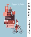 santa is going by bicycle and... | Shutterstock .eps vector #1525191122