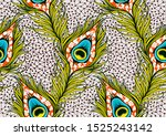 peacock's tail seamless pattern ...   Shutterstock .eps vector #1525243142
