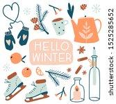 hello winter card or poster....   Shutterstock .eps vector #1525285652