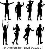 silhouette group of people... | Shutterstock .eps vector #1525301312