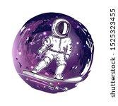 astronaut rides on a snowboard. ...   Shutterstock .eps vector #1525323455