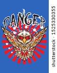 danger slogan with eagle vector ...   Shutterstock .eps vector #1525330355