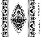seamless pattern of mehndi... | Shutterstock .eps vector #1525372892