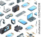 Isometric Gadgets Icons Pattern ...