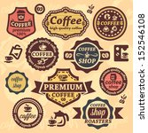elegant vector coffee labels... | Shutterstock .eps vector #152546108