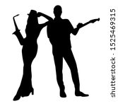 Silhouette Of Musical Duet Wit...