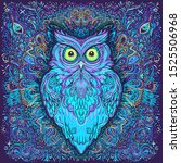 cute abstract owl and... | Shutterstock .eps vector #1525506968