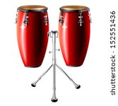 Musical background series. Traditional Conga drum, isolated on white background