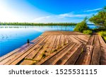 Small photo of Summer forest river pier view. River pier view. River pier scene. Pier river view