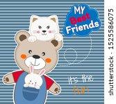 Stock vector cute animals friends bear cat and rabbit happy friendship day flat clip art modern poster 1525586075