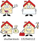 house cartoon mascot characters.... | Shutterstock .eps vector #152560112