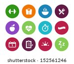 fitness circle icons on white... | Shutterstock . vector #152561246
