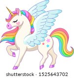 Cute Cartoon Pegasus With...