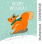 Cute Cartoon Squirrel. Winter...