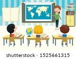 little school children studying ... | Shutterstock .eps vector #1525661315