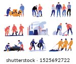 pollution flat icons set with... | Shutterstock .eps vector #1525692722