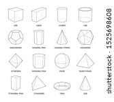 Basic stereometry shapes line set of cuboid octahedron pyramid prism cube cone cylinder torus isolated vector illustration