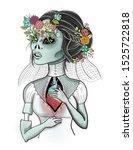 dead bride with flowers in her...   Shutterstock . vector #1525722818