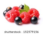 Raspberry with currant - stock photo
