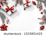 christmas fir branches with... | Shutterstock . vector #1525851425