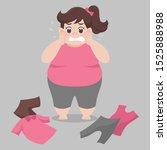 big fat woman cannot wearing... | Shutterstock .eps vector #1525888988