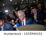Small photo of BOGOTA, COLOMBIA - OCTOBER 8, 2019: Alvaro Uribe Velez arrives to the Palace of Justice for the first inquiry made to a ex-president of Colombia for fraud