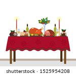 traditional christmas table... | Shutterstock .eps vector #1525954208