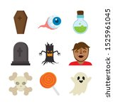 bundle halloween with set icons ... | Shutterstock .eps vector #1525961045