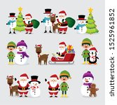 bundle christmas with snowman... | Shutterstock .eps vector #1525961852