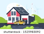 smart eco house with electric... | Shutterstock . vector #1525983092