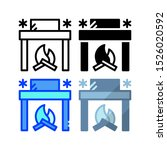 winter fireplace icon. with...