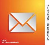 mail white icon on orange... | Shutterstock .eps vector #152602742