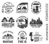 set of outdoor adventure quotes ... | Shutterstock .eps vector #1526052152