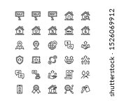 real estate icon set outline...