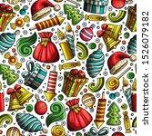 cartoon cute hand drawn xmass... | Shutterstock . vector #1526079182