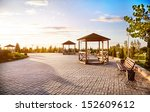 summer houses with benches at... | Shutterstock . vector #152609612