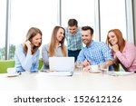 group of young happy employees... | Shutterstock . vector #152612126