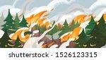 forest fire flat vector... | Shutterstock .eps vector #1526123315