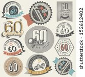 vintage style 60th anniversary...   Shutterstock .eps vector #152612402