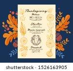 thanksgiving menu with autumn... | Shutterstock .eps vector #1526163905