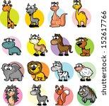 set of cute cartoon animals  | Shutterstock .eps vector #152617766